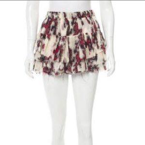 Iro silk abstract ruffle accented skirt